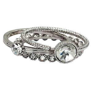 Fashion silver crystal assemble ring